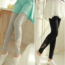Women lace Embroidered Skinny Elastic Leggings Tights Pencil Pants Trousers 088