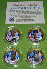 24K GOLD PLATED YANKEE BASEBALL COIN SET OF FOUR BABE, AaRON, CLEMENTE, JOE