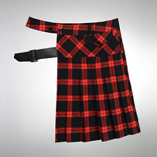 vb HOMME Alternative Indie Buckle-Strapped Pleated Plaid Half-Skirt OC6