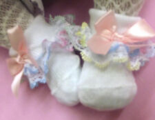 DREAM GIRLS  ROMANY MULTI PASTEL LACE  FRILLY SOCKS NB 0-3 3-6 MONTHS