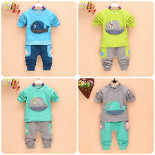 2PC New baby Tops+long Pants set boys  clothing  whale  size:0-3 years