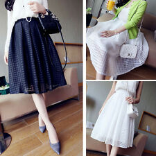 Lady Double Layer Pleated Retro Maxi Plaid Long Elastic Waist Skirt Work Well