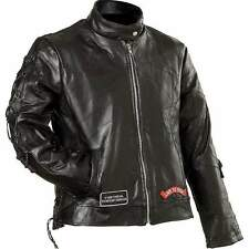 Diamond Plate™ Ladies' Rock Design Genuine Buffalo Leather Motorcycle Jacket