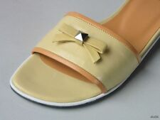 """new STUART WEITZMAN """"Bandeau"""" butter yellow leather BOW flats mules slides shoes"""