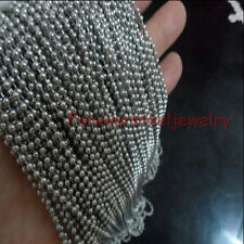 "18""-35"" Lot Silver 2.4mm Round Ball Chain Necklace Stainless Steel Jewelry"