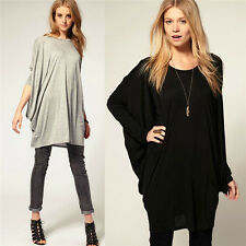 Women Crew Neck Batwing Sleeve Loose Long T-Shirt Oversized Tops Pullover Blouse