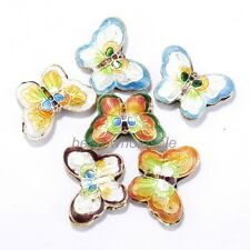 20pcs Equisite Butterfly Cloisonne Beads Spacer Pendants Finding Making