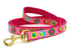 ANY SIZE - UP COUNTRY - MADE IN USA - DESIGNER DOG LEASH - PINK-A-DILLY CIRCLES