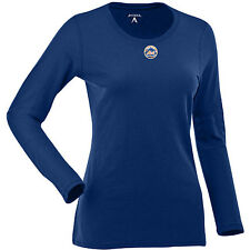 Antigua Women's New York Mets Relax LS 100% Cotton Washed Jersey Scoop Neck Tee