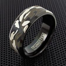 Black Tungsten Men's Hunting Camouflage Camo Design Band Ring Size 9-13