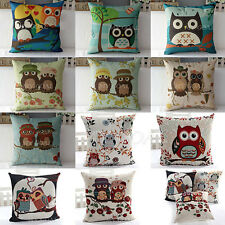 Vintage Owl Linen Cotton Cushion Cover Sofa Bed Home Car Throw Pillow Case Decor