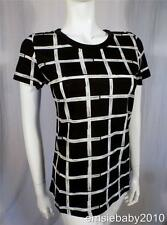 French Connection Womens Black & White Check Square Print T-Shirt Top S M L
