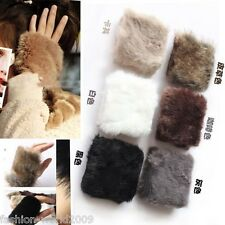 Fashion Ladies Girls Winter Warm Faux Rabbit Fur Fleece Half Fingerless Gloves