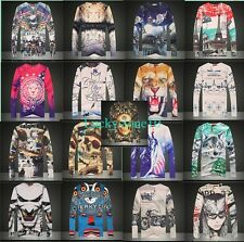 Men Women 3D Skull Lion Tiger Animal Letters Long Sleeve Round Top Tee T shirt