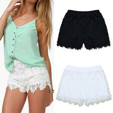 Fashion Women European Lady Elastic Shorts High Waist Lace Short Pants S-XXL