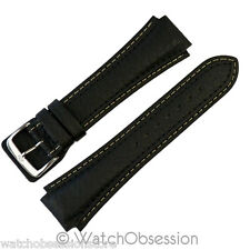 Di Modell PILOT Notched Cowhide Waterproof Leather Watch Strap & Buckle in BLACK