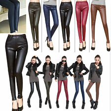 Fashion Sexy Women Stretchy Faux Leather Leggings Pants