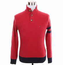 Tommy Hilfiger Men Half Zip 3-Button Mock Turtle Neck Solid Sweater - $0 Ship