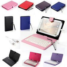 "Stand Folio Leather Keyboard Case Cover for 7"" 8"" 10"" Universal Tablet PC Stylus"