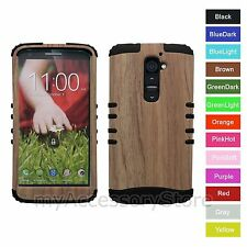 For LG G2 Bamboo Wood Texture Design Hybrid Rugged Impact Armor Phone Case Cover