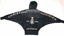 NWT CHRISTIAN AUDIGIER Ed Hardy VELOUR HOODIE JACKET BLING Graphic Black LA NEW