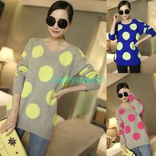 New Women Polka Dots Crewneck Long Sleeve Casual Knitwear Blouse Pullover Tops