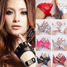 New Fashion Ladies Half Finger PU Leather Punk Fingerless Driving Show Gloves WY