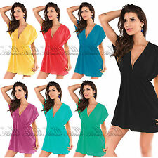 Summer Lady Deep-V Neck Bikini Cover Up Beach Dress Swimsuit Shirt Sexy Lingerie