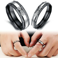 Stainless Steel Crystal Love Couple Rings Wedding Band Rings Set Size 5-10