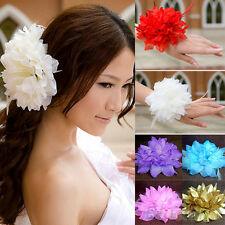 Prom Bridal Wedding Flower Fascinator Feather Elastic Pin Hair Wrist Corsage