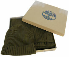 Timberland Mens Acylic Gift Box Khaki Green Hat and Scarf Set (J1614 327) R22