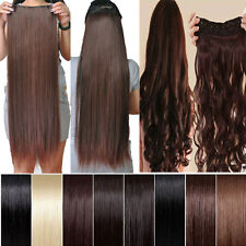 100% real good Natural Hair Extension 3/4 Full head 5 Clips in on One Piece hs62