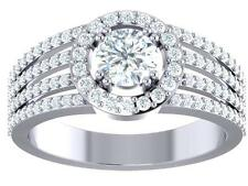 1.50Ct Round Cut Diamond 14Kt White Gold Halo Set Solitaire Engagement Ring Band