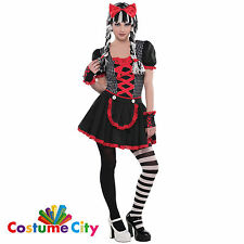 Halloween Gothic Rag Doll Ragdoll TEEN Fancy Dress Costume + Tights