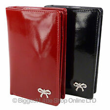 NEW Ladies Medium Flap Over Patent LEATHER PURSE WALLET MALA Allure Collection