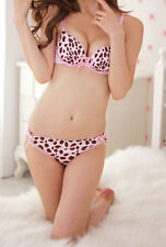 Spot Pink Lovely Lace Sexy Push Up Pad Underwire Bra Panties Set 32 34 36 A