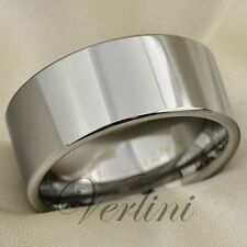 Mens Tungsten Carbide Ring Pipe Cut 10mm Wedding Band Titanium Color Size 6-13