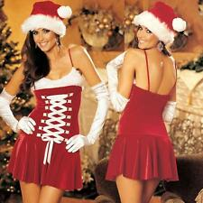 Shirley of Hollywood Santa Costume Xmas Velvet Corset Lacing Dress w/Faux Fur