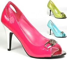 Patent Crinkle Open Toe High Heel Pump Green Turquise Hot Pink  Delicious Rawu-s