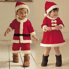 Baby Toddler Boys Girls Santa With Hat Christmas Outfit Xmas Costume Set FT1145
