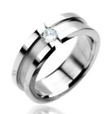 316L Stainless Steel 0.20 Carat Floating CZ Striped Wedding Band Ring Size 5-13