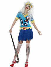 Ladies High School Horror Zombie Hockey Player Halloween Fancy Dress Costume