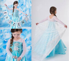 Summer New 3-8Y Girl Frozen Princess Elsa Cosplay Party Costume Fancy Dress Gown