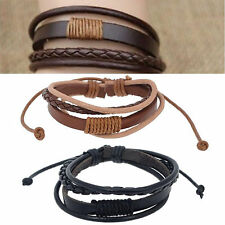 Men Fashion Punk Handmade Black Brown Leather Surfer Braided Wristband Bracelet