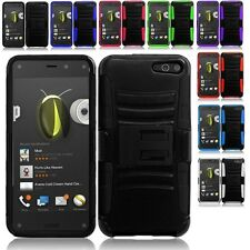 For Amazon Fire Phone Cell Phone Case Hybrid Hard Cover + Belt Clip Holster