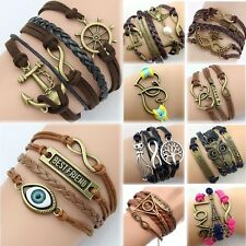 2014 NEW DIY Jewelry fashion lots Style Leather Cute Infinity Charm Bracelet CA2