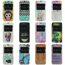 Painted Pattern Window Flip Leather Stand Cover Case for Samsung Galaxy S5 Mini