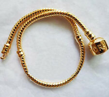 """5pc 3MM """"PAND0RA"""" engraved on Clasp SNAKE CHAIN Bracelet Fit European Bead Charm"""
