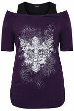 Yoursclothing Plus Size Womens Foil Cross Print Bardot Top With 3/4 Sleeves