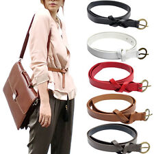 Vintage D-shaped Copper Buckle Waist Belt Simple Classic Leather Slender Belt